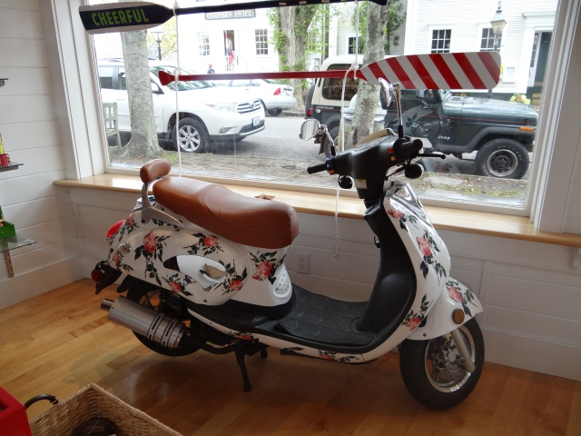 Amid the mix of boutiques and bookshop, quirky shops selling everything from clothes to kettles crop up.  This scooter was a favourite piece of mine.