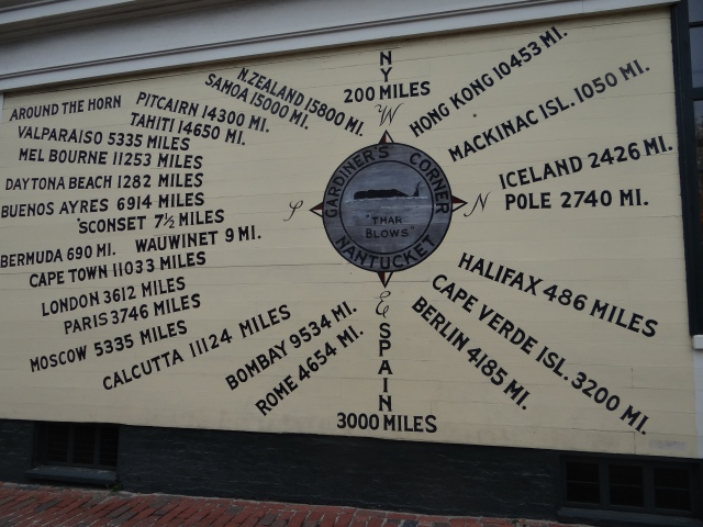 The islands of Nantucket and Martha's Vineyard take pride in their history as whaling ports and fishing bays.  There is nautical memorabilia at every turn, one of my favourites is this compass, painted on the exterior of a shop.